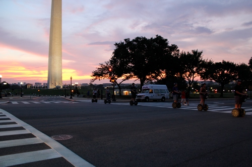 Tourists on Segways, Washington Monument